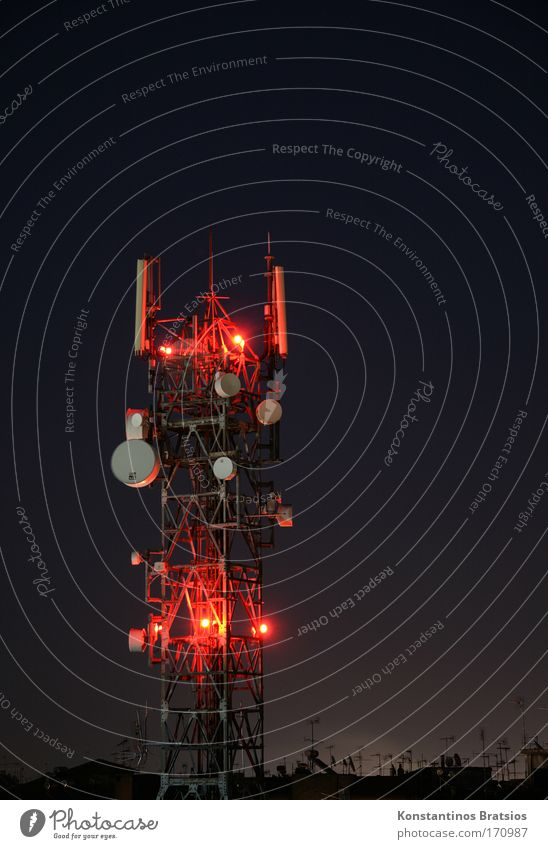 Red Black Dark Above Tall Large Illuminate Technology Communicate Telecommunications Information Technology Construction Antenna Advancement Night shot