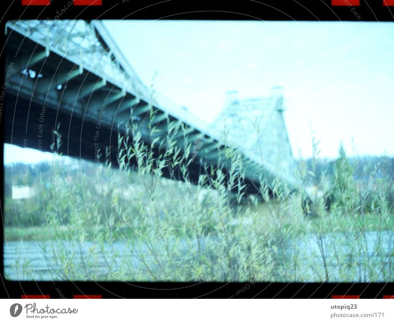 Blue miracle Water Bridge Architecture Cold Green Wonder River bank Traverse Dresden Tourist Attraction Subdued colour Exterior shot Experimental Polaroid