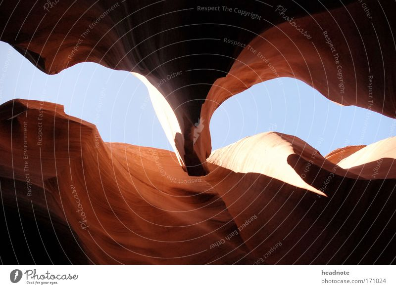Red Falcon Colour photo Exterior shot Deserted Day Light Contrast Silhouette Worm's-eye view Environment Nature Sand Sky Rock Canyon Observe Touch Crawl