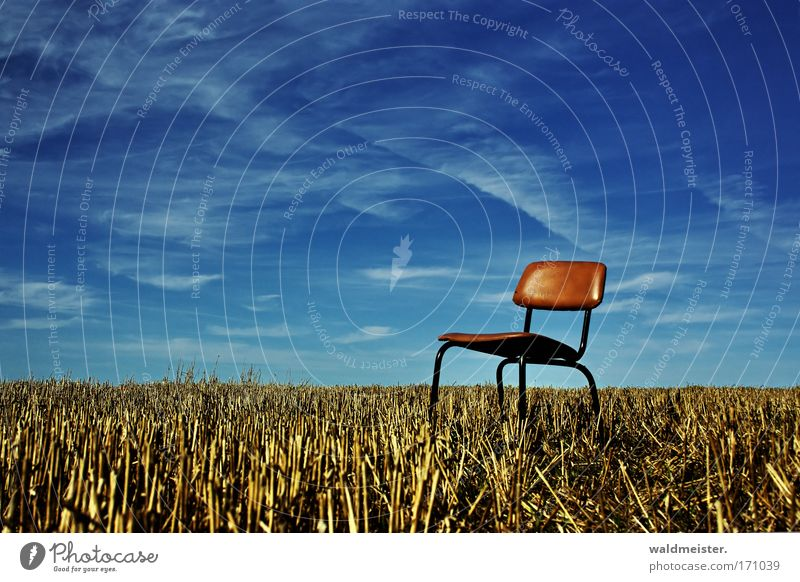 seating Chair Seating Exterior shot Copy Space Field Nature Sky Agriculture Harvest stubbles Relaxation Break