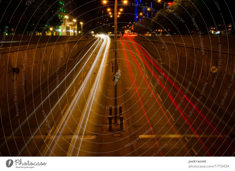 good night in the street of Berlin Downtown Berlin Road traffic Street Road sign Illuminate Dark Long Speed Moody Movement Mobility Symmetry Tracer path
