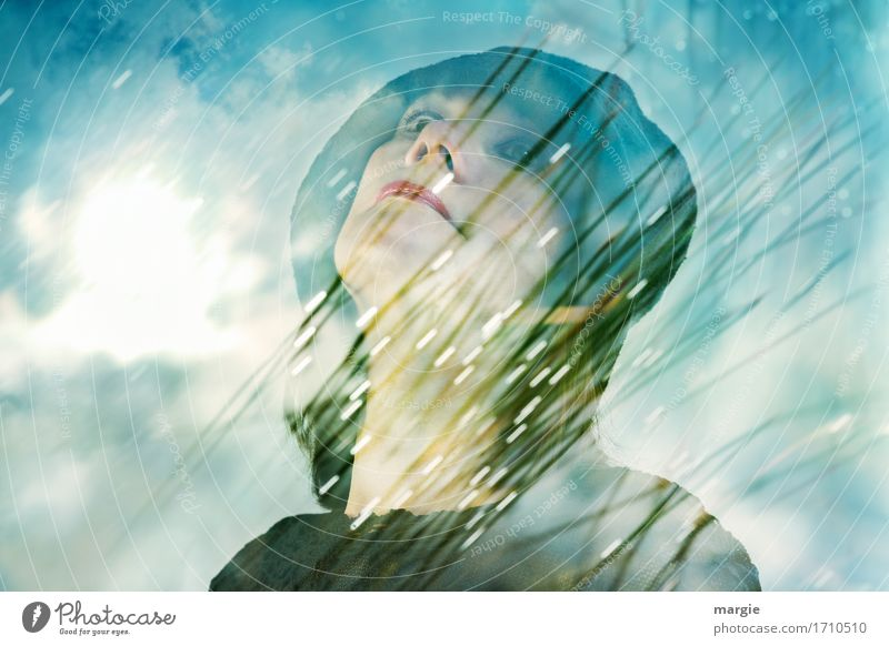 Biowetter: young woman with hat in front of blue sky and light Vacation & Travel Freedom Summer Summer vacation Sun Human being Feminine Woman Adults Face Mouth