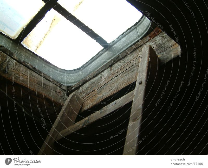 Old Window Above Wood Glass Stairs Roof Ladder Attic Hatch
