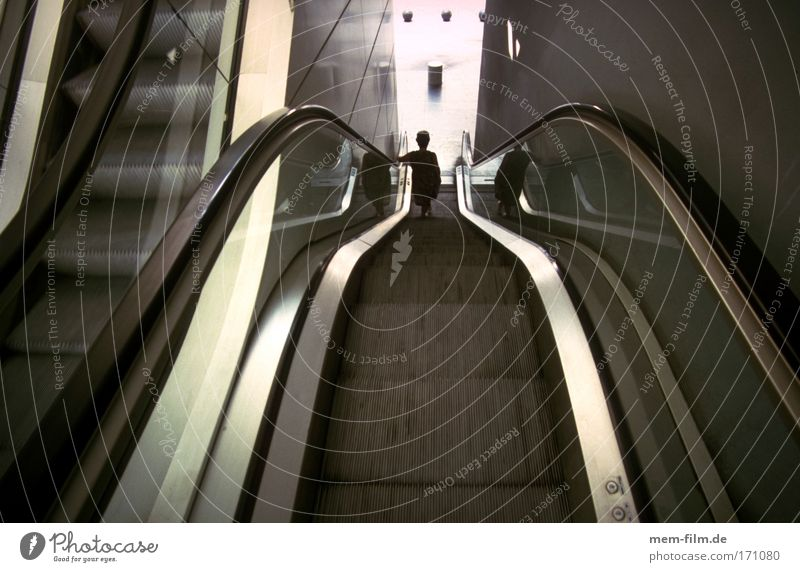 down Escalator Downward Descent Crisis Economic crisis Impersonal Cold impersonally Steel Line Wide angle Loneliness Woman Stairs fahrstul Automatic sluggish