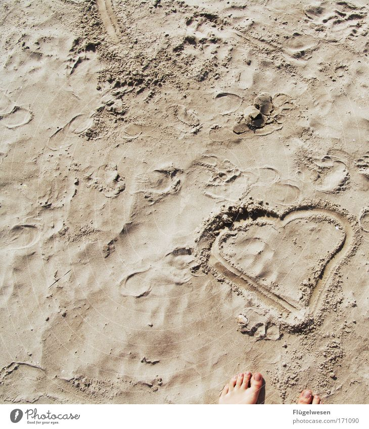 Sun Summer Beach Calm Relaxation Love Happy Coast Feet Contentment Leisure and hobbies Heart Romance Kitsch Friendliness