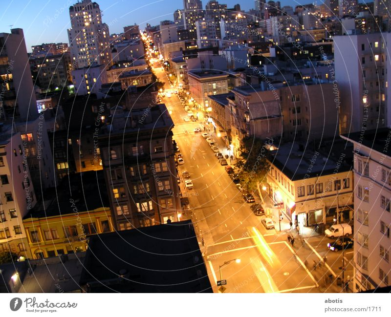 Evening city traffic Transport San Francisco Building North America Light lights Distorted