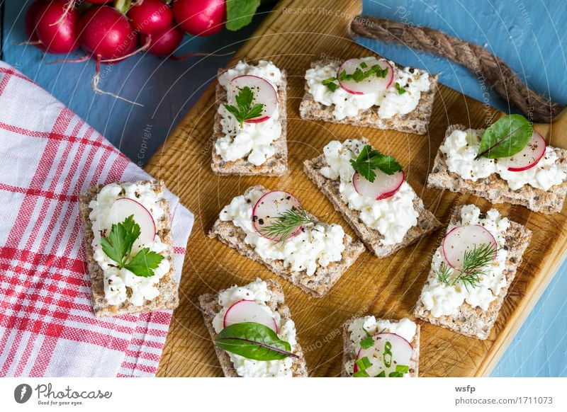 Blue Wood Herbs and spices Wooden board Rustic Snack Parsley Chives Country house Radish Dill Wholewheat Crispbread