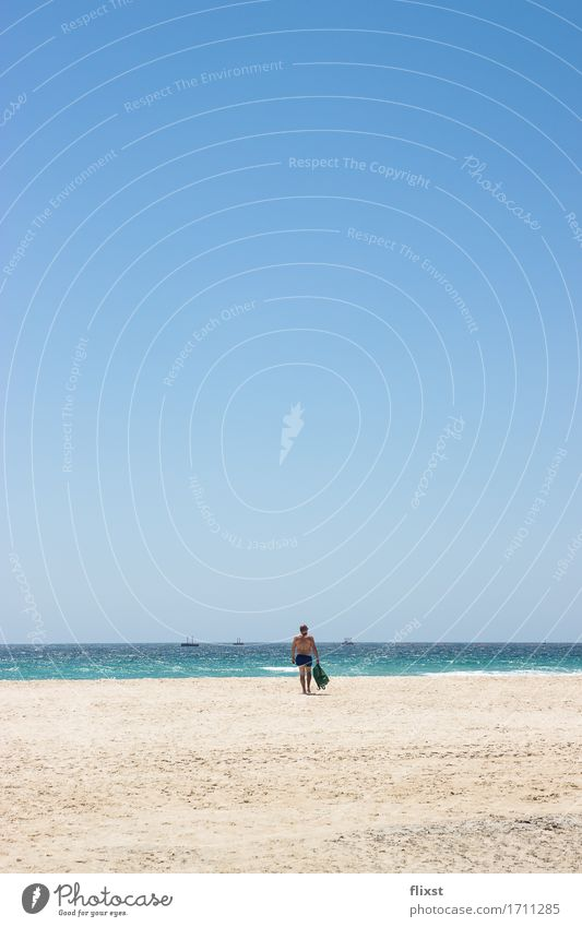 TARIFA | 1 Masculine Man Adults Human being Nature Sand Water Cloudless sky Summer Beautiful weather Ocean Relaxation Going Vacation & Travel Contentment