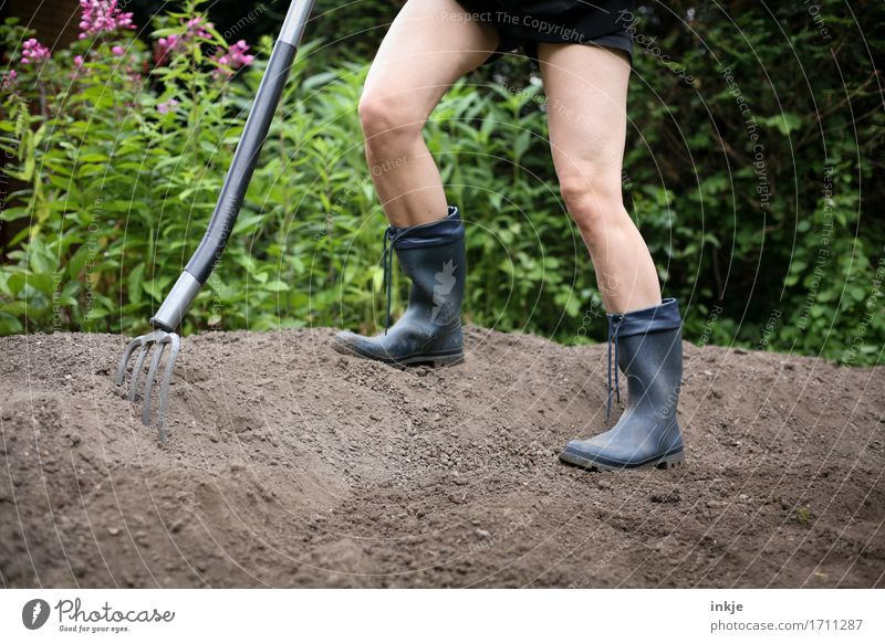 Dig up some shit! Adults Life Legs 1 Human being Earth Summer Beautiful weather Garden Rubber boots digging fork Gardening equipment Stand Determination