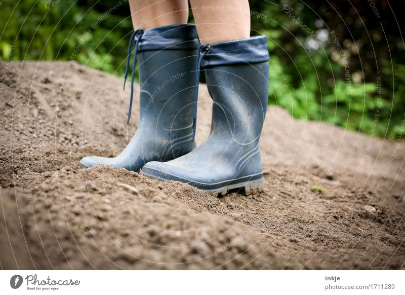 Human being Blue Summer Life Lifestyle Style Garden Feet Field Leisure and hobbies Earth Stand Large Beautiful weather Gardening Rubber boots