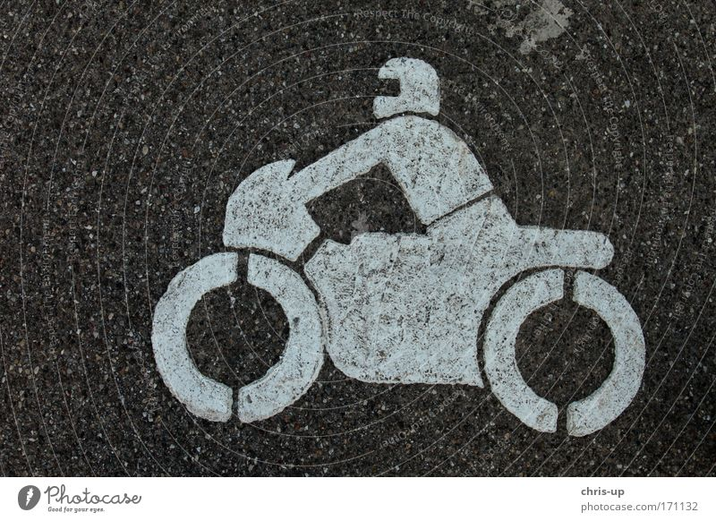 Motorcycle on asphalt Colour photo Subdued colour Exterior shot Detail Abstract Pattern Structures and shapes Deserted Neutral Background Bird's-eye view Sports