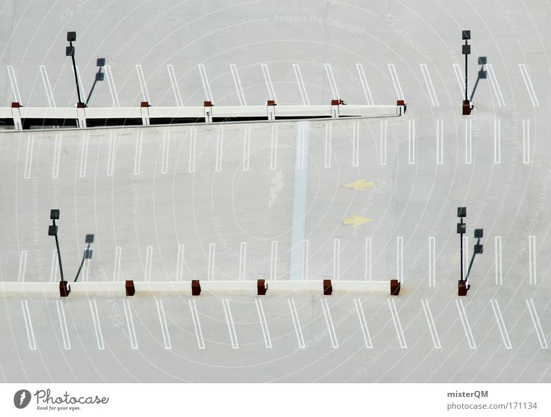 Parking space. Colour photo Multicoloured Exterior shot Aerial photograph Abstract Pattern Structures and shapes Deserted Day Sunlight Deep depth of field