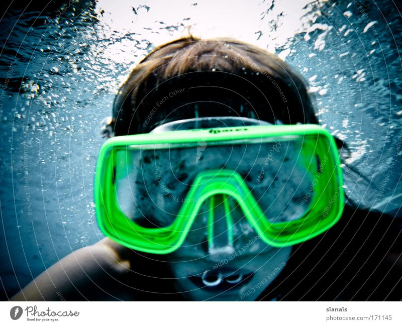 Human being Child Water Blue Girl Sports Feminine Head Fear Funny Infancy Crazy Threat Swimming pool Dive Curiosity