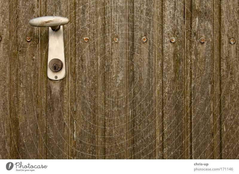 Handle on wooden gate Colour photo Exterior shot Abstract Pattern Structures and shapes Deserted Copy Space left Copy Space right Copy Space top