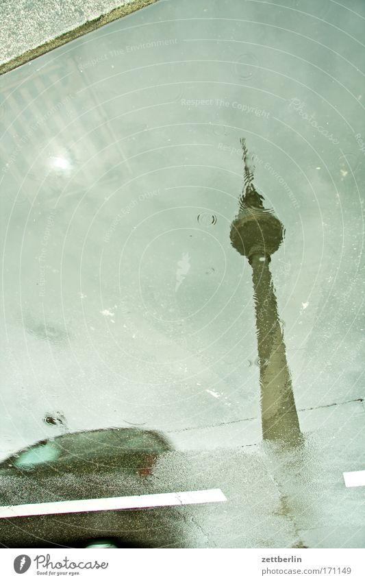 Water Street Berlin Car Rain Road traffic Drops of water Transport Thunder and lightning Puddle Berlin TV Tower Capital city Television tower Alexanderplatz