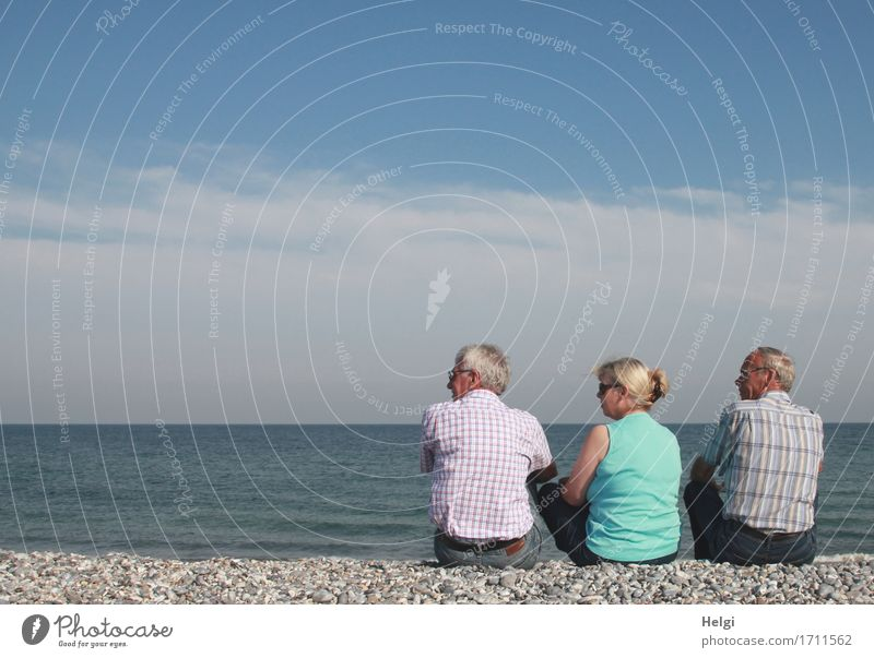 one senior and two seniors sitting on a pebble beach and looking to the left Leisure and hobbies Vacation & Travel Summer Human being Masculine Feminine Woman