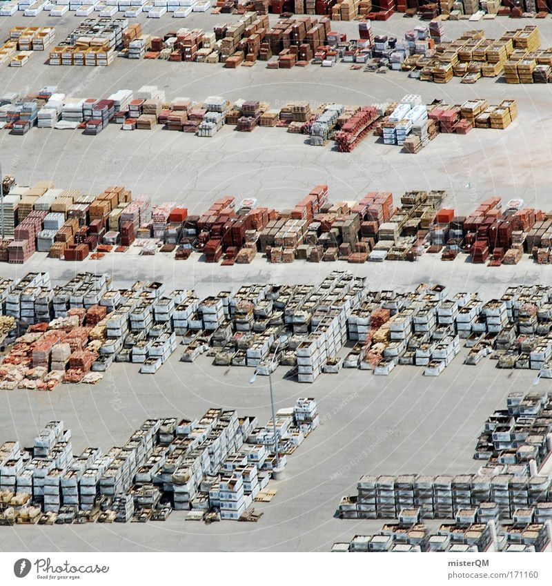Aerial photograph Wood Stone Packaging Merchant Concrete Arrangement Growth Europe USA Many Plastic Harbour Material Economy Trade