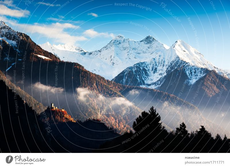 Castle and landscape in Aosta Valley, northern Italy Beautiful Vacation & Travel Tourism Winter Snow Mountain Art Nature Landscape Sky Autumn Tree Forest Alps