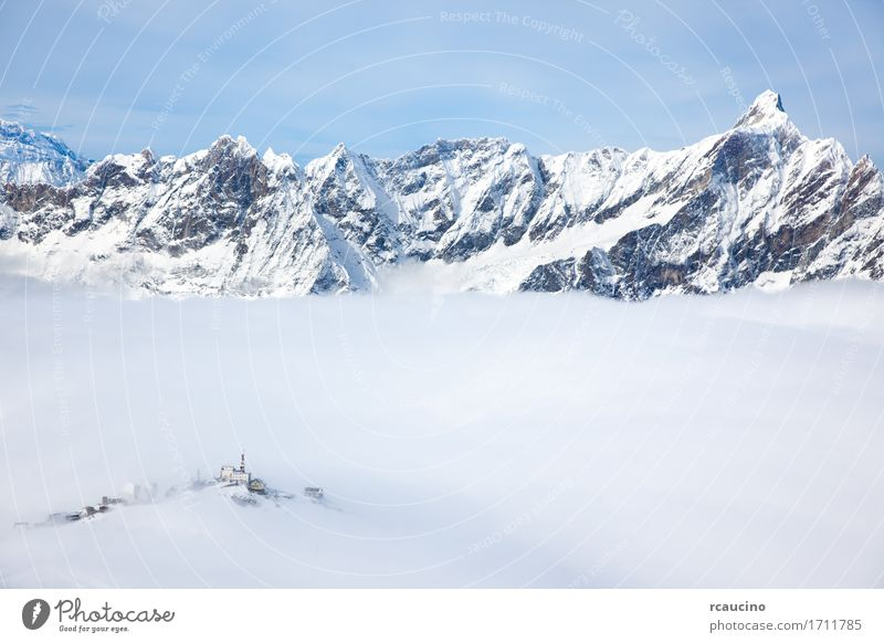 Plateau Rosa in Cervinia ski resort Valle d'Aosta, Italian Alps Sky Nature Vacation & Travel White Landscape Clouds Winter Mountain Sports Snow Building Tourism