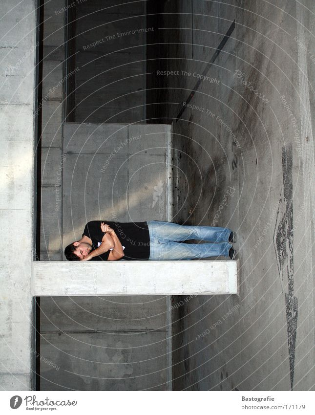 Human being Man Dark Gray Dirty Masculine Sleep Perspective Lie Fatigue Parking lot Garage Exhaustion Rotation Snoring