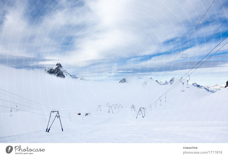 High altitude slopes and ski-lifts Zermatt Switzerland Nature Vacation & Travel White Landscape Winter Mountain Sports Snow Tourism Europe Vantage point Skiing