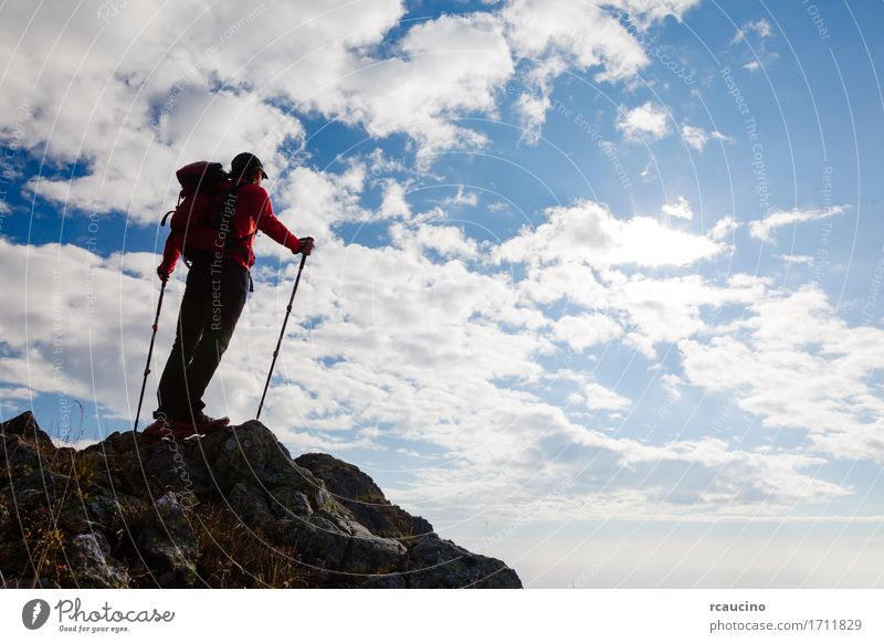 Male hiker standing on the top of a mountain. Leisure and hobbies Vacation & Travel Trip Adventure Freedom Summer Mountain Hiking Sports Climbing Mountaineering