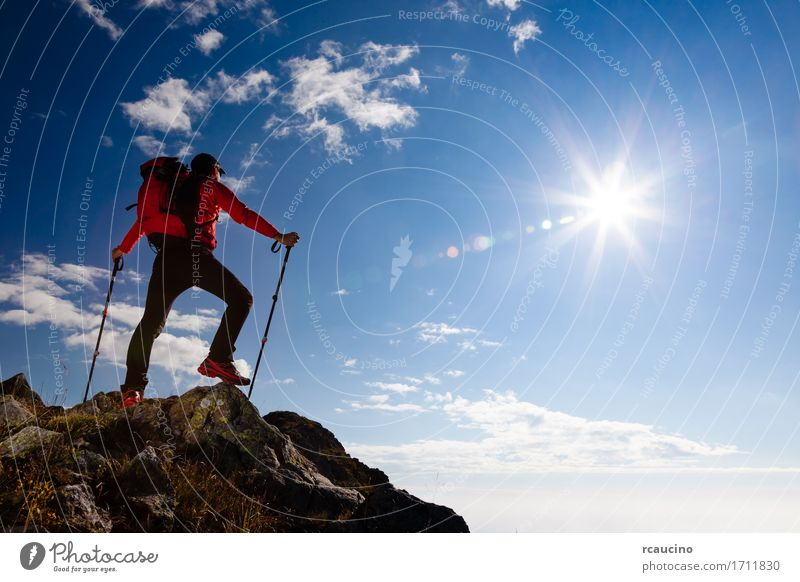Male hiker standing on the top of a mountain. Sky Nature Vacation & Travel Man Blue Summer Landscape Red Loneliness Clouds Mountain Adults Sports Freedom Rock