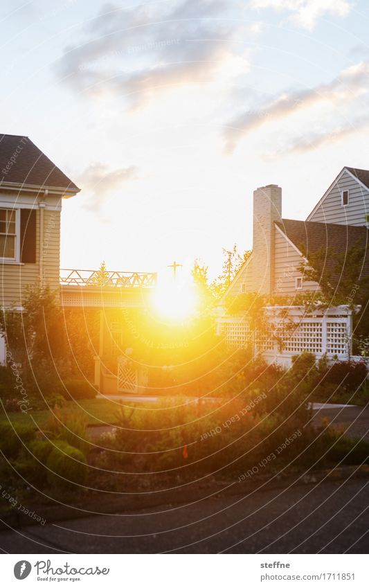 Eugene Sky Sunrise Sunset Sunlight Beautiful weather Small Town House (Residential Structure) Detached house Warmth Colour photo Exterior shot Copy Space bottom