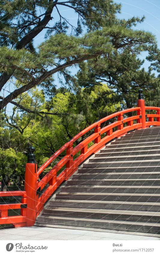 Sumiyoshi-taisha Vacation & Travel Tourism Far-off places Sky Spring Summer Tree Park Osaka Japan Asia Deserted Bridge Manmade structures Stairs