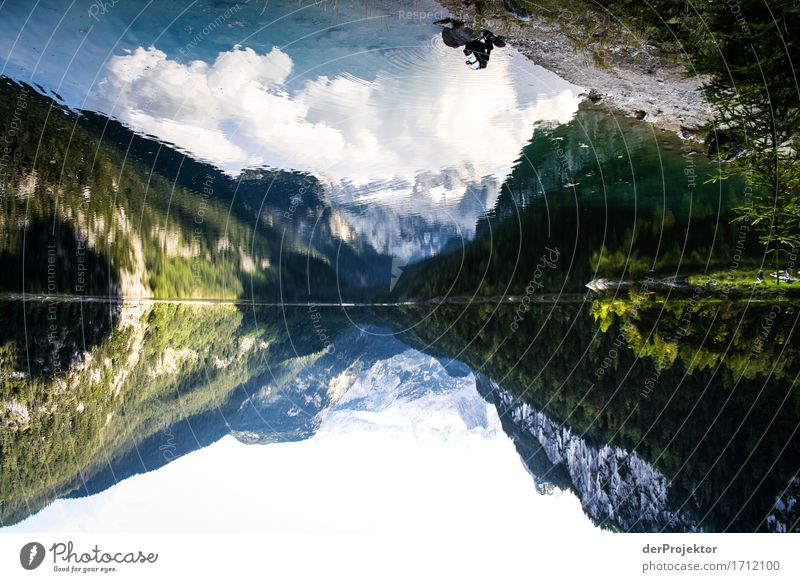 Mountain lake in reflection with diver Vacation & Travel Tourism Trip Adventure Far-off places Freedom Camping Hiking Environment Nature Landscape Plant Animal
