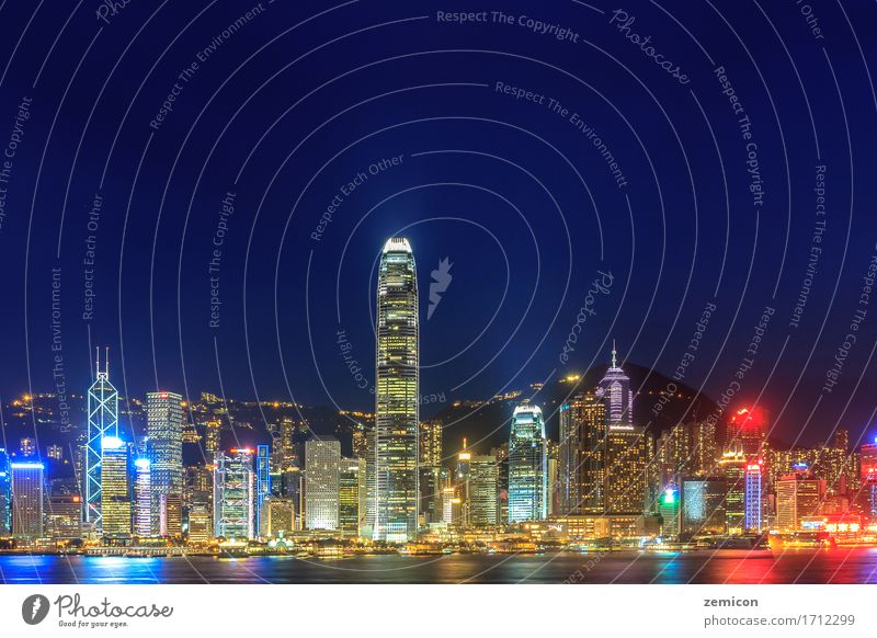 Hong Kong skyline at night Sky Vacation & Travel City Beautiful Landscape Ocean Architecture Building Business Tourism Watercraft Office Modern High-rise