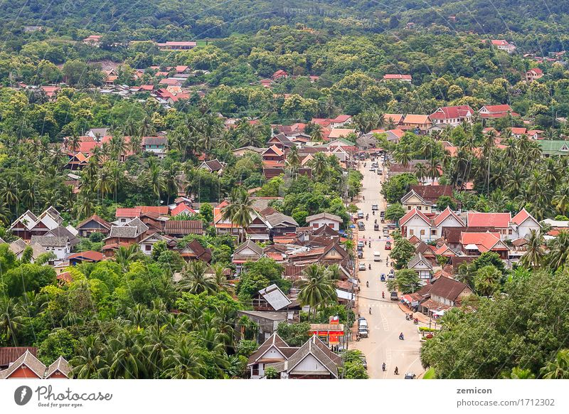 skyview and landscape in luang prabang, Laos. Beautiful Vacation & Travel Tourism Mountain Culture Nature Landscape Sky Warmth Tree River Small Town Bridge Bird