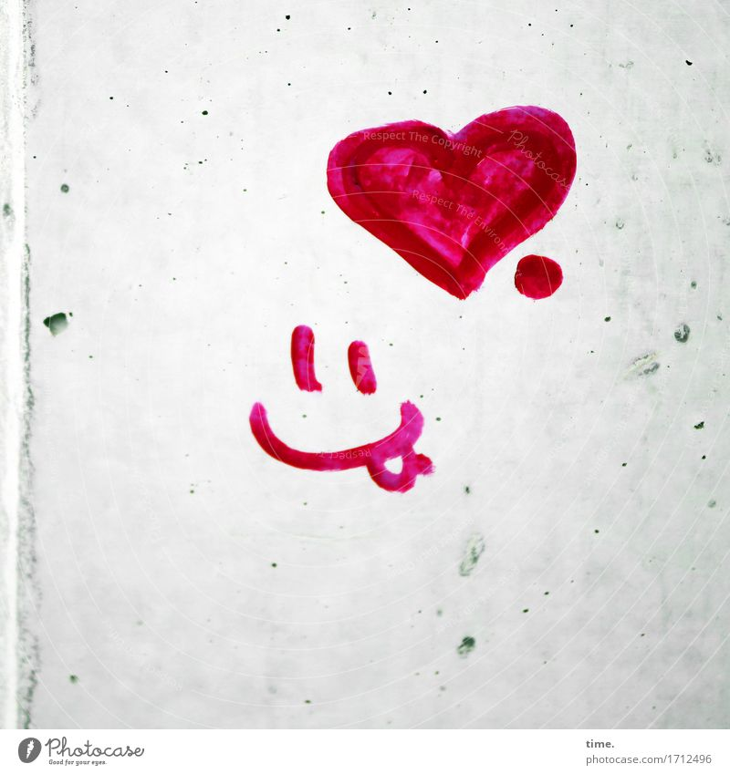 Fluffy in the mind. Art Painting and drawing (object) Wall (barrier) Wall (building) Concrete Sign Graffiti Heart Line Smiley Icon Happiness Astute Funny Red