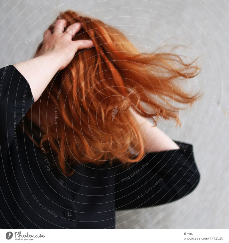 . Feminine 1 Human being Jacket Red-haired Long-haired Movement Illuminate Aggression Rebellious Crazy Wild Joie de vivre (Vitality) Euphoria Willpower Brave