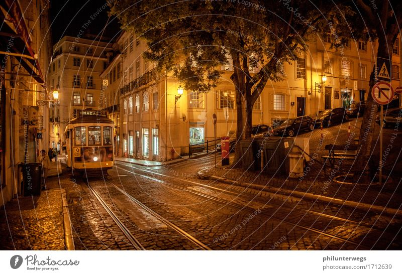Tram Lisboa Vacation & Travel Tourism Trip Sightseeing City trip Lisbon Portugal Town Capital city Downtown House (Residential Structure) Tourist Attraction