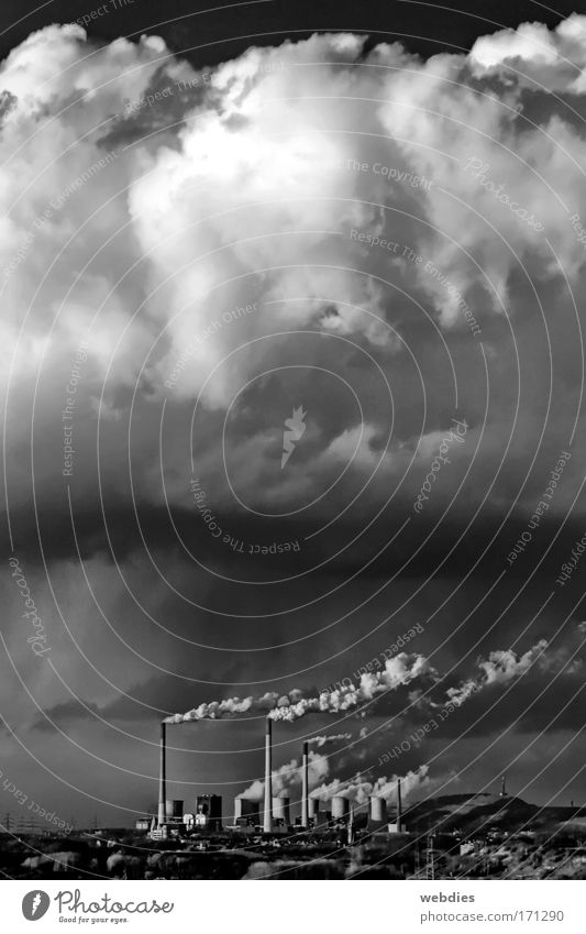 Clouds away! Black & white photo Exterior shot Deserted Copy Space top Day Light Shadow Contrast Central perspective Sky Climate Weather Storm Wind The Ruhr