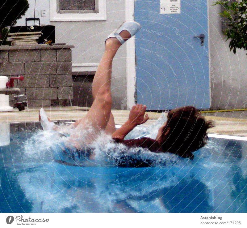 Human being Blue Plant Feminine Cold Hair and hairstyles Garden Stone Legs Feet Door Footwear Arm Skin Wet Swimming & Bathing