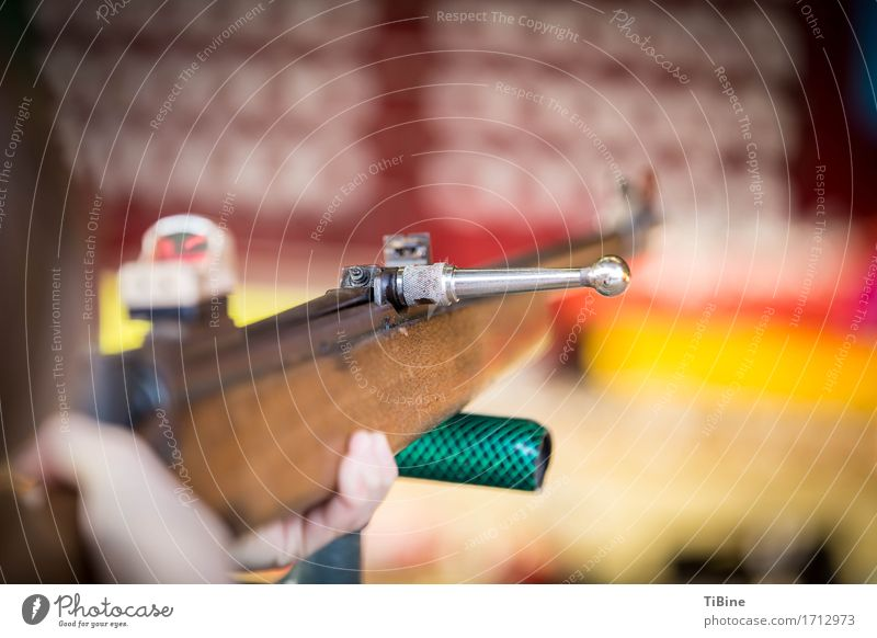 rifle range Fairs & Carnivals Wood Metal Adventure folk festival Rifle Macro (Extreme close-up) Shoot Colour photo Exterior shot Copy Space right Day Blur