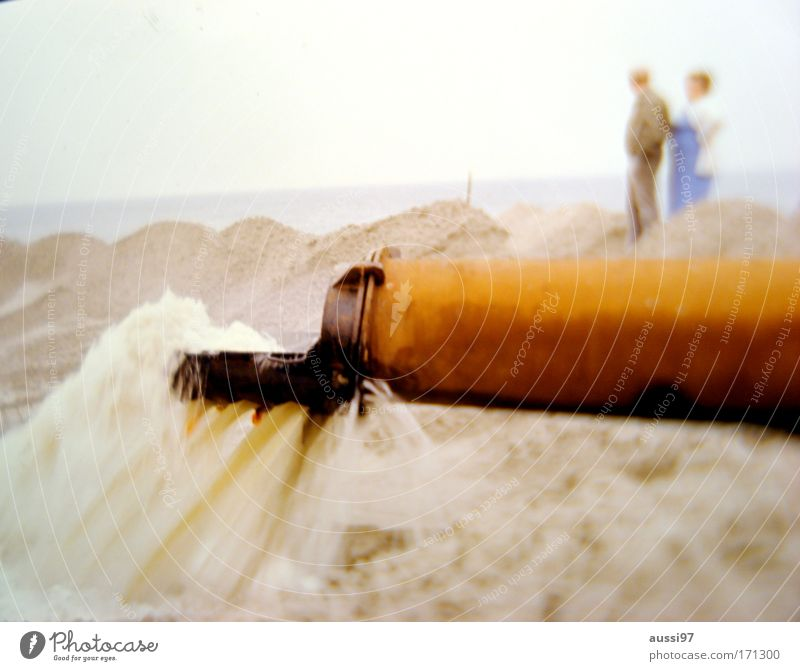 Father, what kind of a time is this? Colour photo Exterior shot Copy Space bottom Blur Looking away Human being Couple 2 Environment Landscape Sand