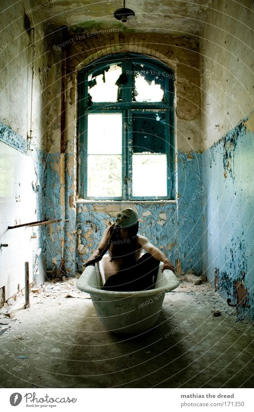 Human being Old Window Wall (building) Wall (barrier) Building Swimming & Bathing Masculine Broken Cleaning Bathroom Wellness Bathtub Factory Mask Derelict