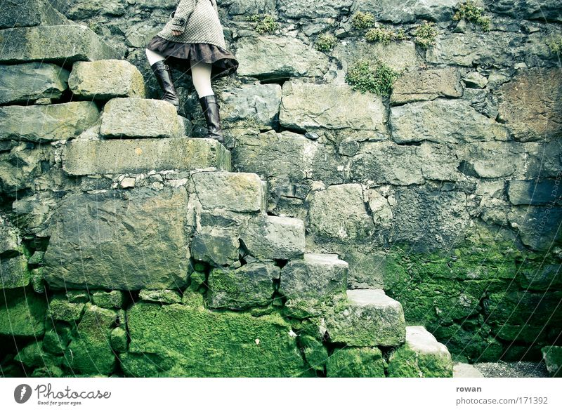 high up Colour photo Subdued colour Exterior shot Day Wall (barrier) Wall (building) Stairs Dark Sharp-edged Endurance Go up Ascending Stone Stone wall Skirt