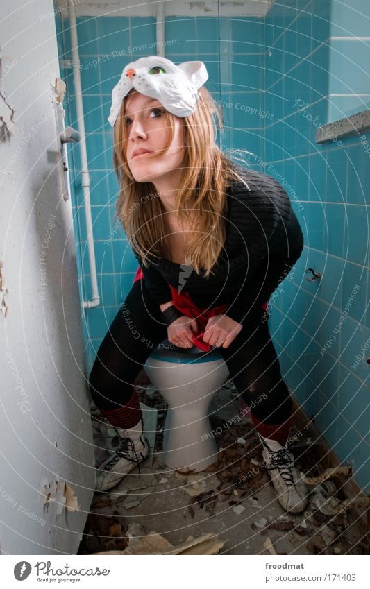 cat's litter box Colour photo Multicoloured Interior shot Day Wide angle Full-length Upward Looking away Human being Feminine Young woman Youth (Young adults)