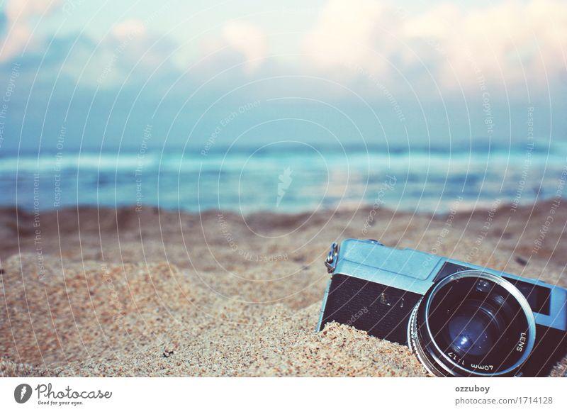 Rangefinder camera Old Blue Summer Beach Black Lifestyle Style Sand Design Dream Leisure and hobbies Retro Camera Passion Film Inspiration