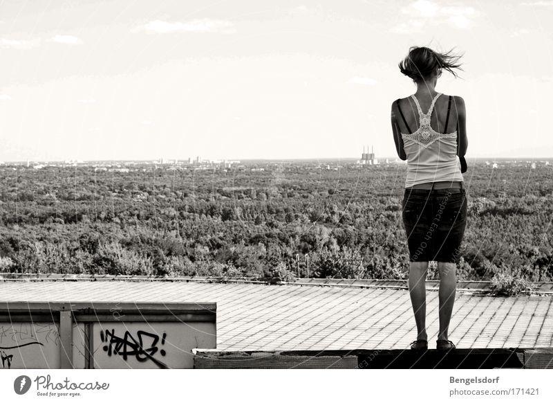 Human being Forest Feminine Dream Think Wind Bridge To fall Observe Black & white photo