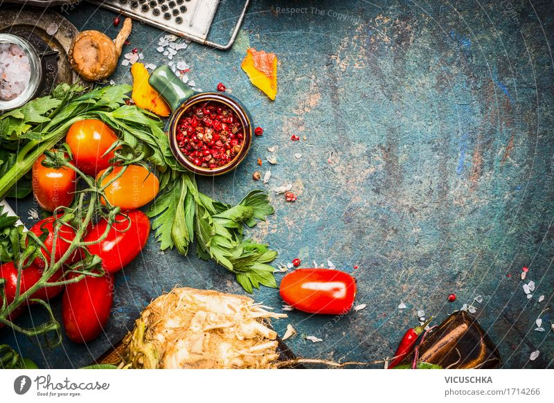 Fresh vegetables and spices for delicious vegetarian cuisine Food Vegetable Herbs and spices Nutrition Organic produce Vegetarian diet Diet Crockery Style