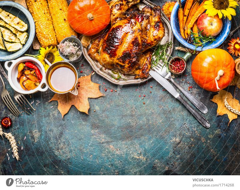 Baked chicken with sauce and autumn vegetables Food Meat Vegetable Nutrition Lunch Dinner Banquet Organic produce Crockery Style Design Healthy Eating Life