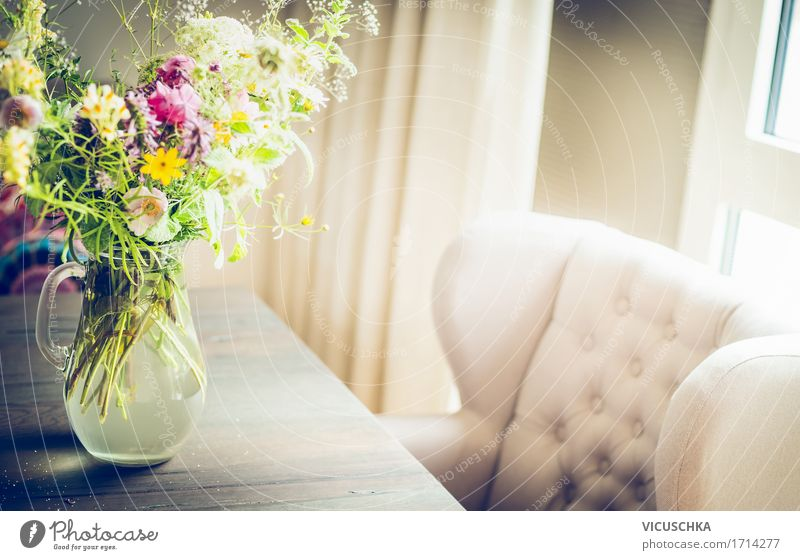 Glass vase with wild field flowers on the table at the window Lifestyle Luxury Elegant Style Design Living or residing Flat (apartment)