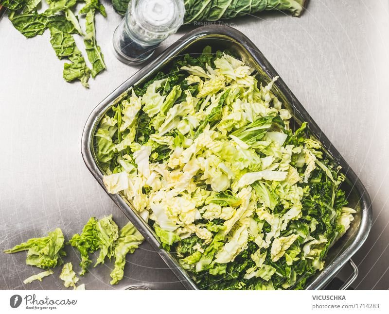 Chopped savoy cabbage in metal bowl Food Vegetable Herbs and spices Nutrition Organic produce Vegetarian diet Diet Bowl Lifestyle Style Design Healthy Eating