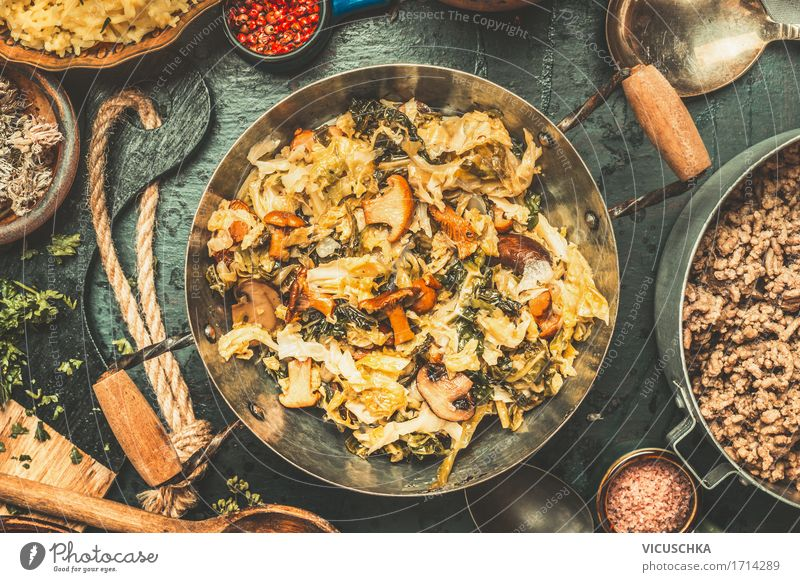 Healthy Eating Winter Dish Food photograph Style Design Nutrition Retro Table Herbs and spices Kitchen Vegetable Organic produce Crockery