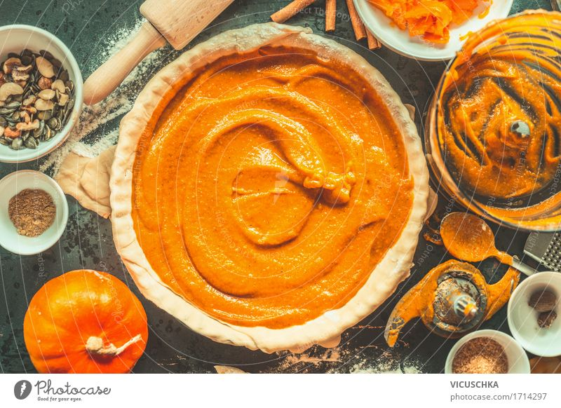 Pumpkin cake preparation Food Vegetable Cake Dessert Herbs and spices Nutrition Banquet Organic produce Vegetarian diet Crockery Bowl Mug Spoon Style Design